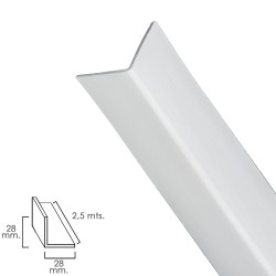 Perfil Pvc Angulo 25x25 mm. Blanco Barra 2,5 metros