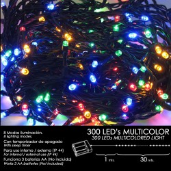 Luces Navidad A Pilas 300 Leds Multicolor Interior / Exterior (IP44)