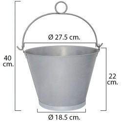 """Cubo Galvanizado Cónico Con Anilla 27,5x22cm de 8 Litros y 11"""""""