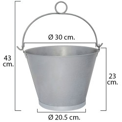 """Cubo Galvanizado Cónico Con Anilla 30,0x23cm de 10 Litros y 12"""""""